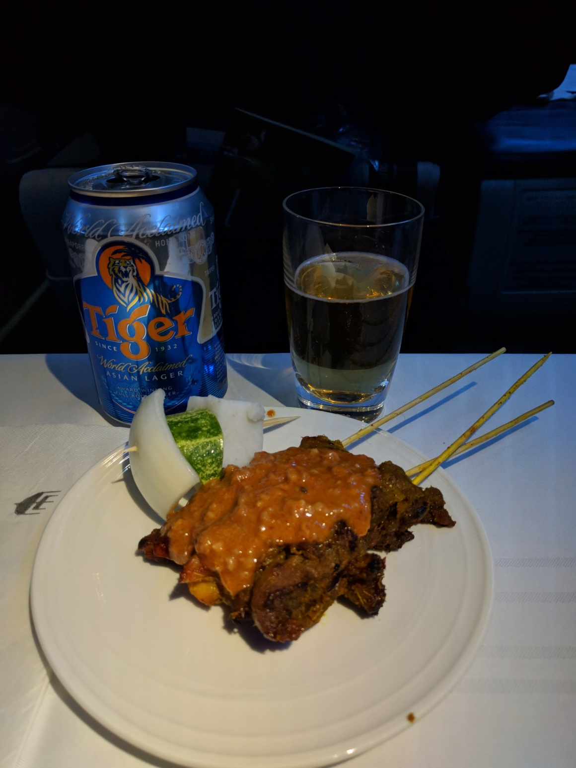 Lamb and beef satays served on Malaysian Airlines between KUL and CMB
