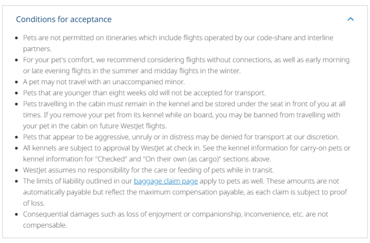 WestJet's Pet Policy for flying with a dog