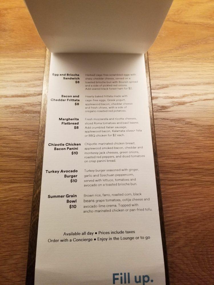 Alaska Lounge N-Gates: Food for purchase menu