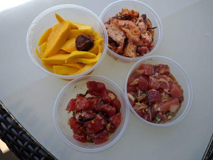 Selection of poke and pickled mango from Ono