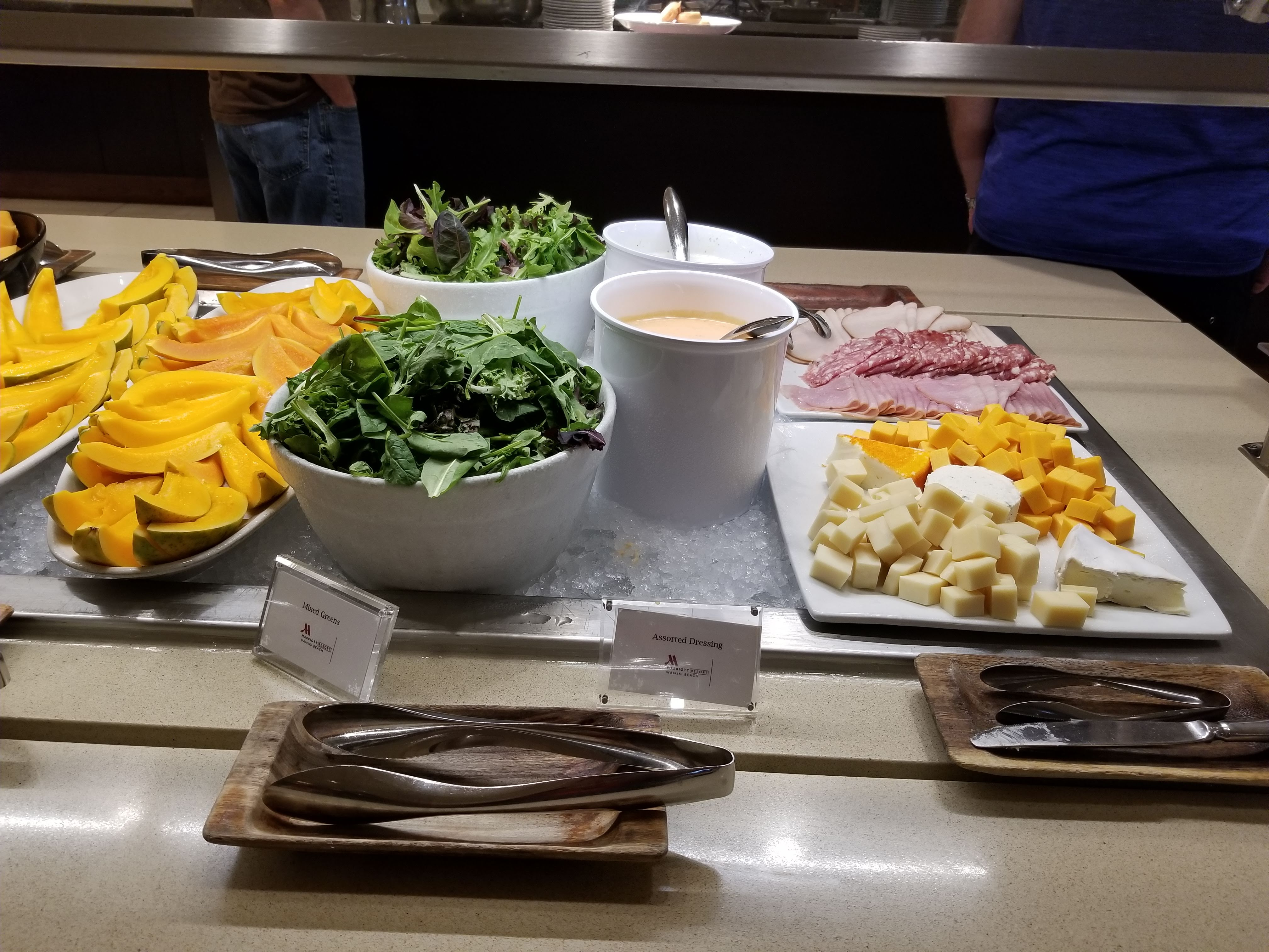 Deli meats, cheese and salad part of the breakfast buffet at the Waikiki Marriott Resort & Spa