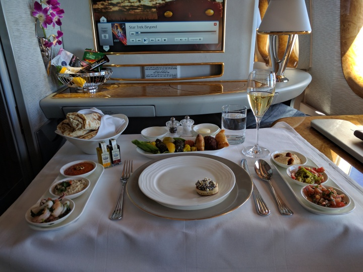 The Arabic Mezze plate in Emirates First Class between DFW-DXB with 2002 Dom Perignon champagne