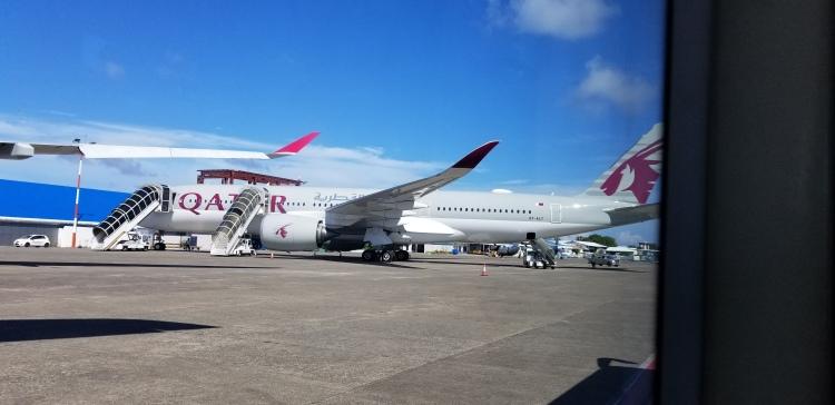 The Qatar Airways A350-1000 at MLE - Male Velana Airport