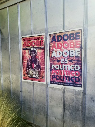 Adobe is political sign in Marfa