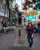 Max with the Hachiko statue in Tokyo