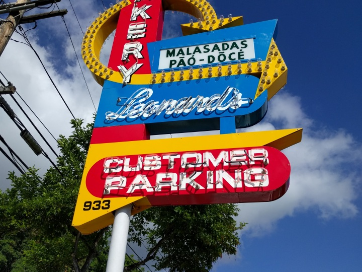 The iconic sign at Leonard's bakery