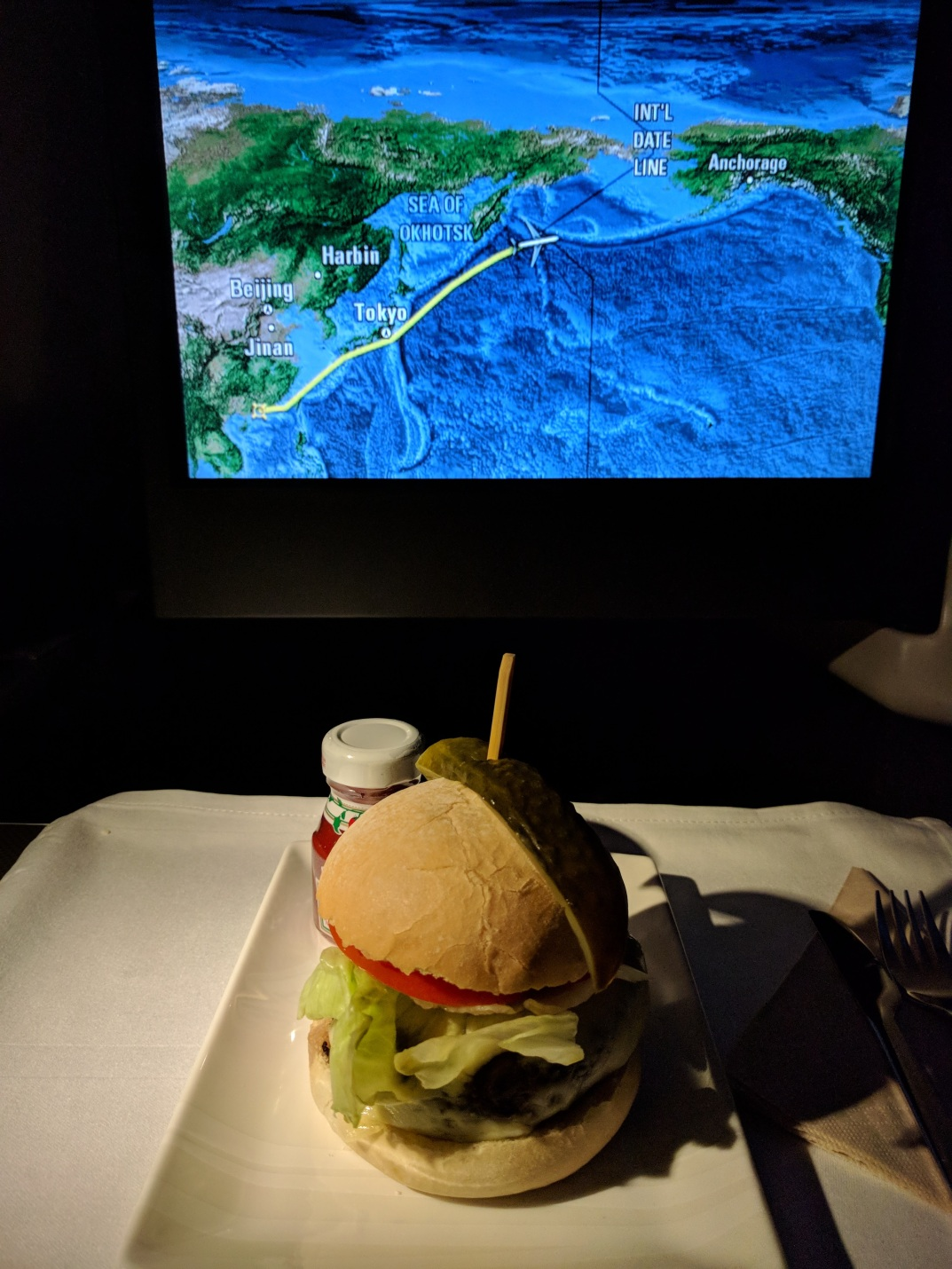 "The hamburger served on the ""Snacks"" menu on Cathay Pacific between HKG and YVR"