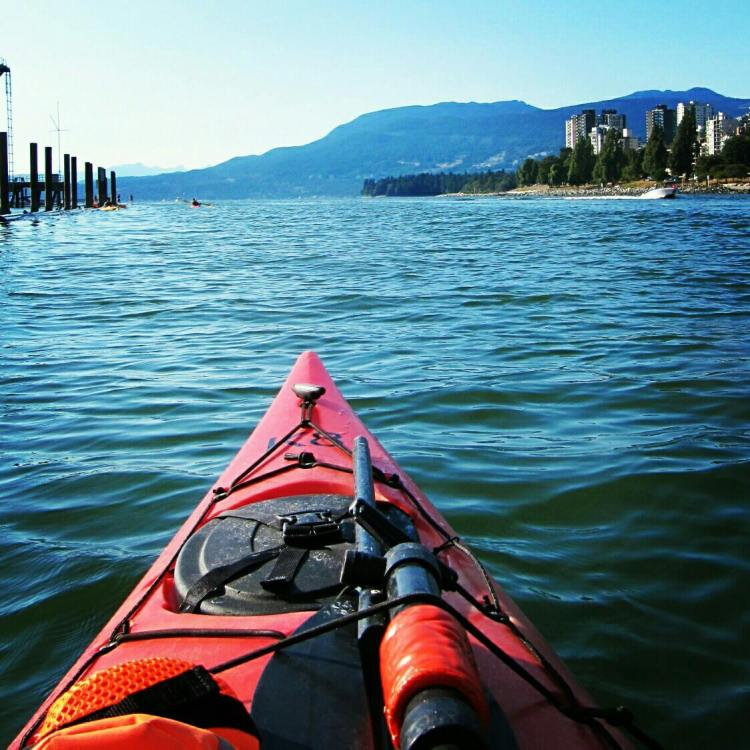 Kayaking towards the Burrard Bridge