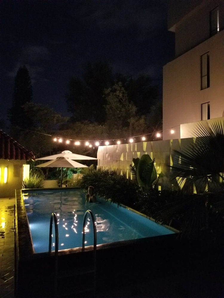 Max in the pool at night at Casa Habita in Guadalajara