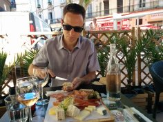 Jason enjoying lunch and rose wine in Avignon
