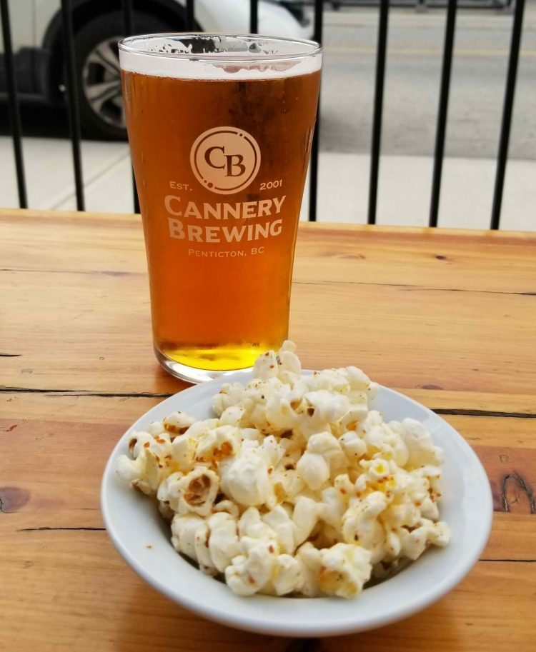 Beer and popcorn at Cannery Brewing