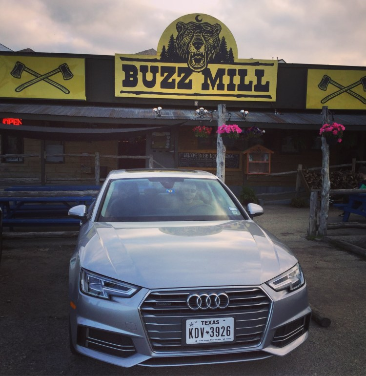 Jason in our Audi A4 rental from Silvercar at the Buzz Mill in Austin