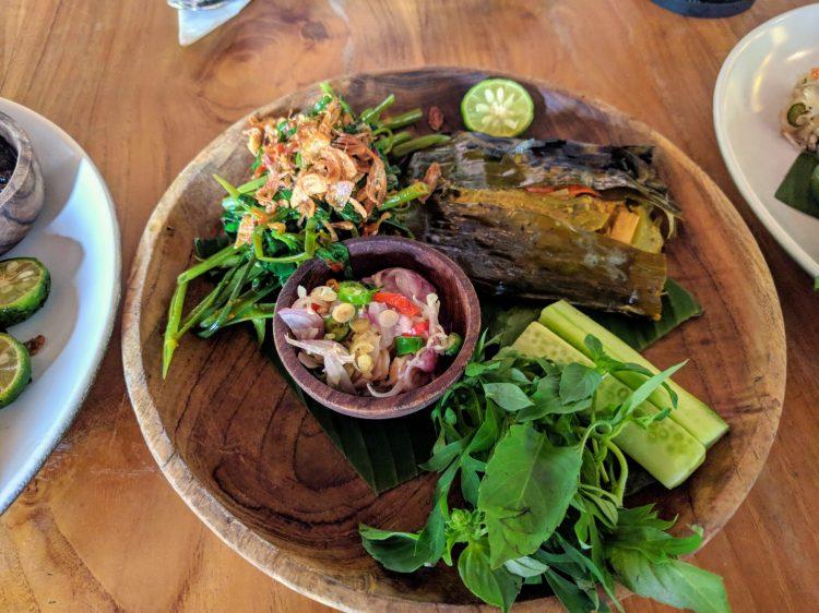 Ikan pepes at Ulekan (fish cooked in banana leaf)