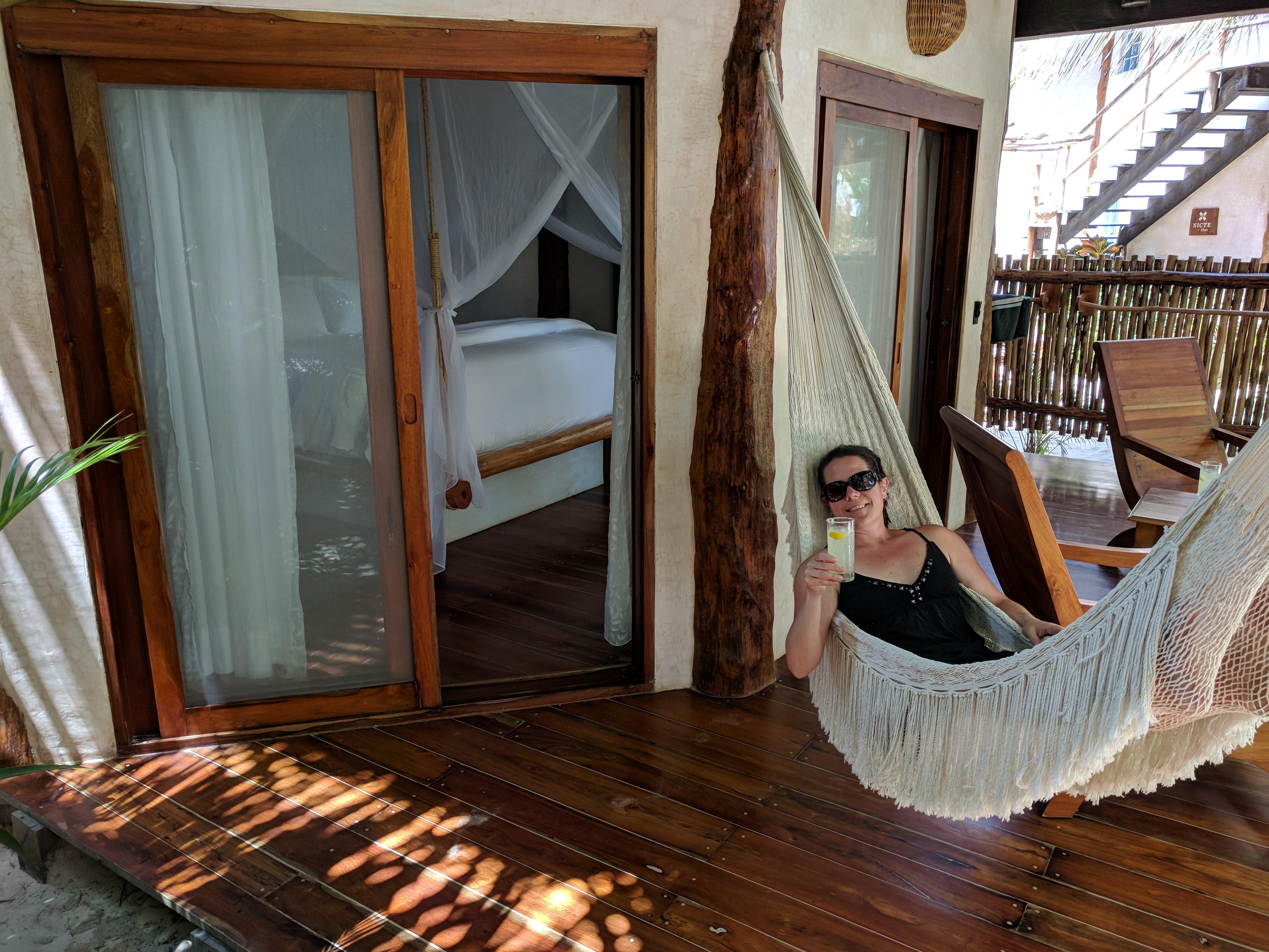 Enjoying the welcome margarita in a hammock