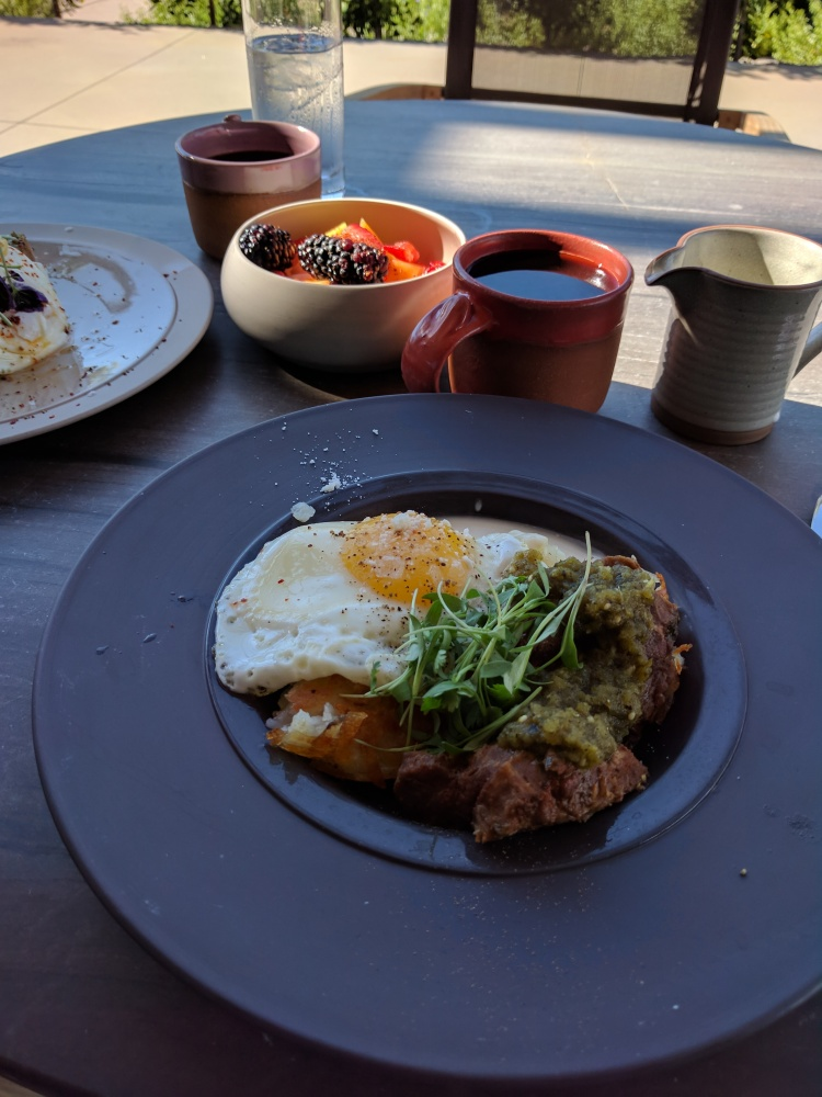 Dirty hashbrown with green chile pork at Weft & Warp