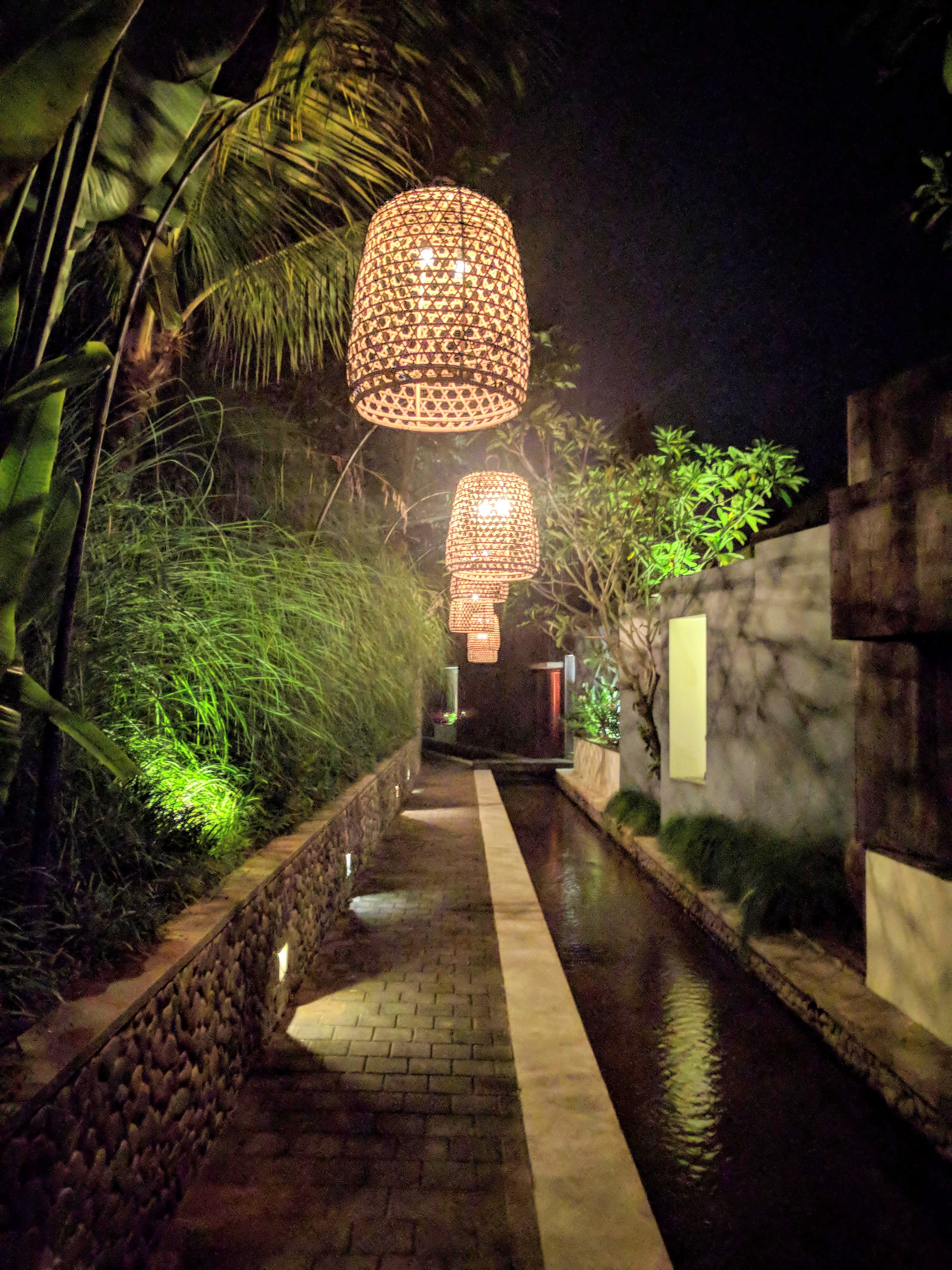 Pathway to the Bamboo Villa at night
