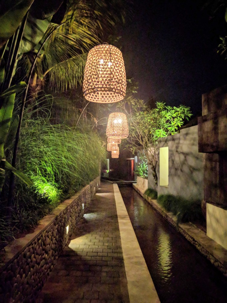 Pathway to the Bamboo Villa at night