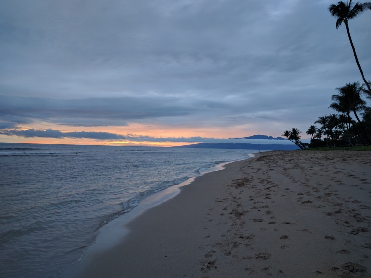 Ka'anapali Beach on a rainy day