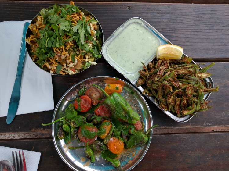 Bhel Puri, Fried Okra, and Shishito peppers at Bollywood Theatre
