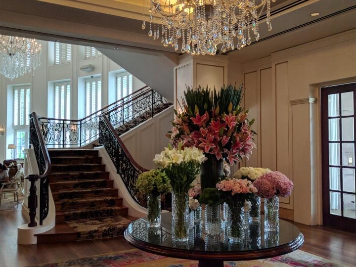 Fresh flowers in the lobby at the Park Hyatt Saigon