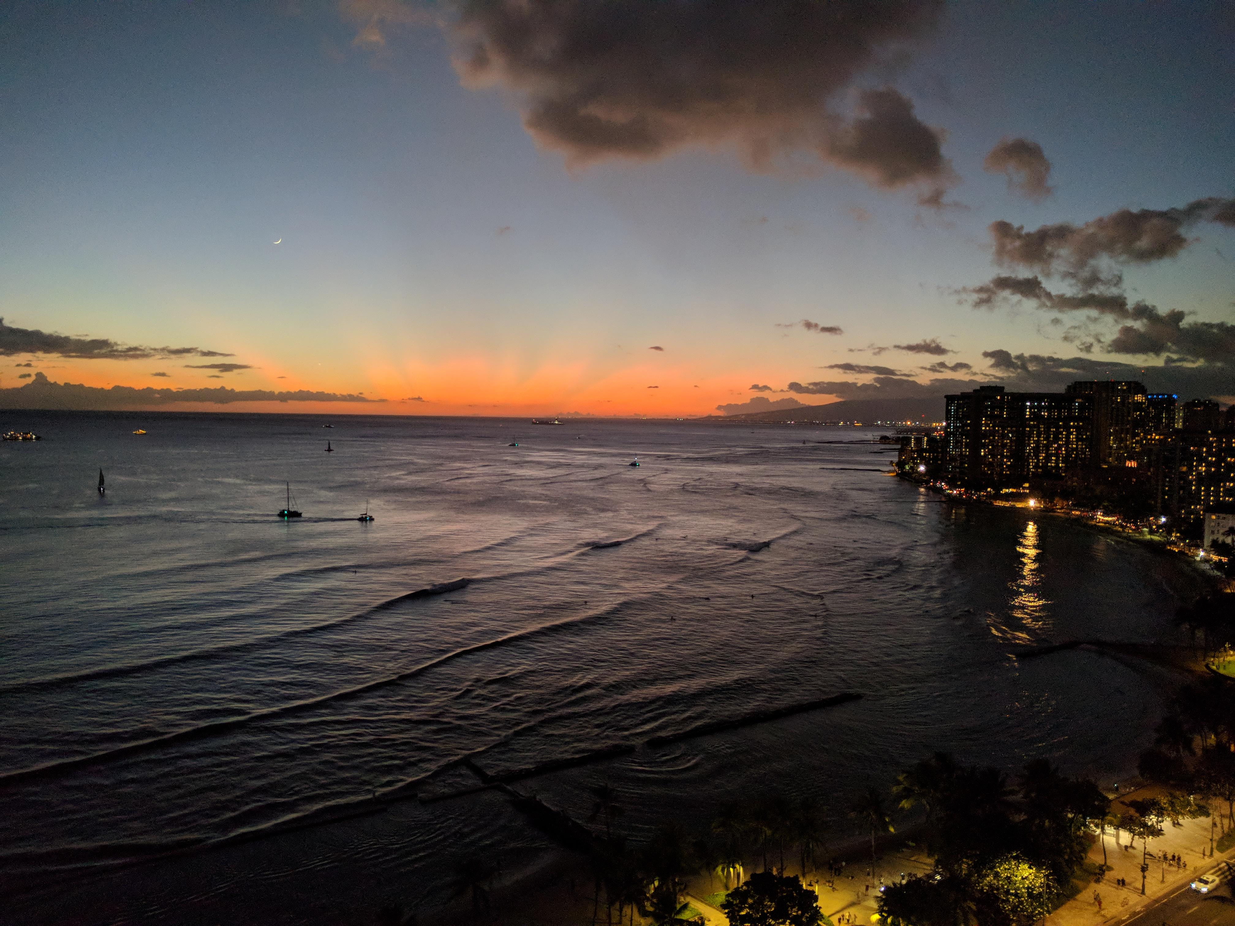 Stunning sunset from our Ocean Front Room at the Waikiki Marriott
