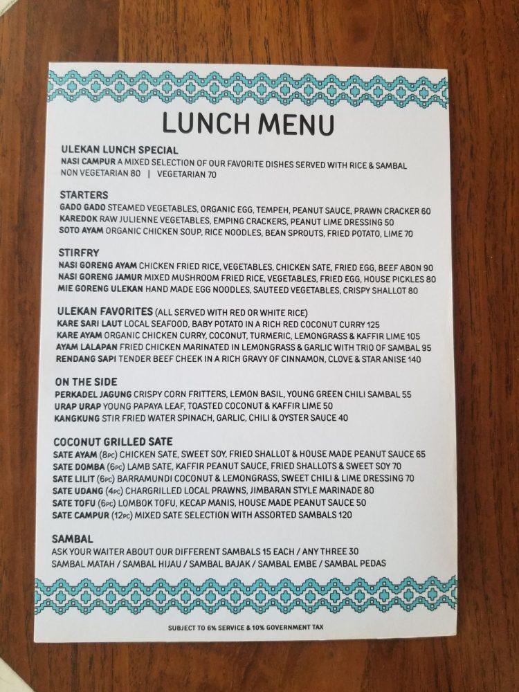 Lunch menu at Ulekan