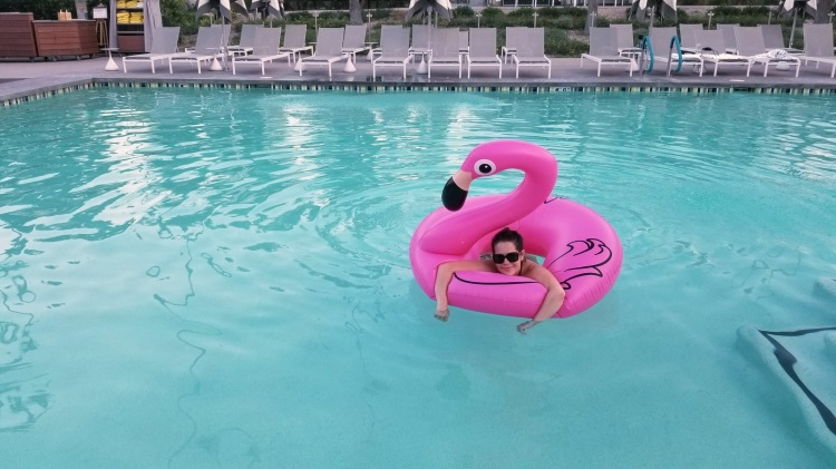 Max floating in the pool at the Andaz Scottsdale