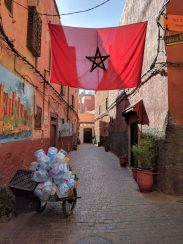 Moroccan flag in a street in the medina