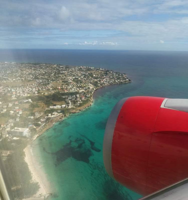 Landing at BGI with a view of Enterprise/Miami Beach