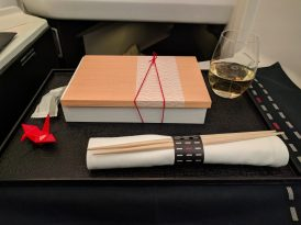 Japanese appetizer on JAL in Business Class from NRT to CGK
