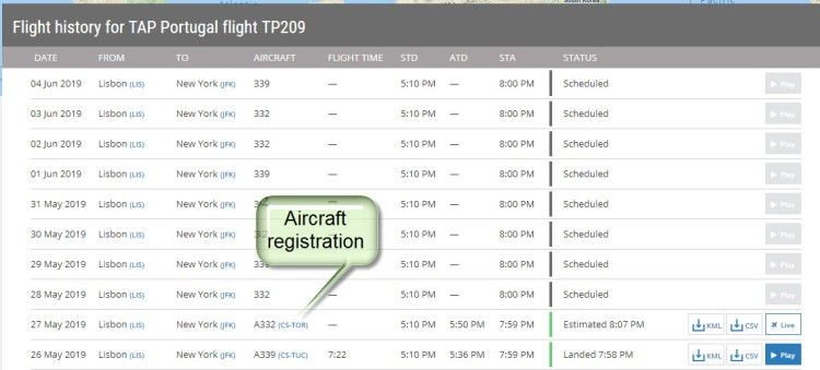 How to look up an aircraft registration on FlightRadar24