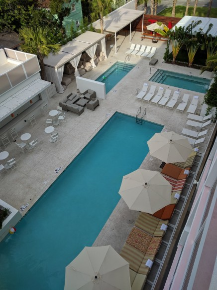 View of the pool area from our room at the Sarasota Modern