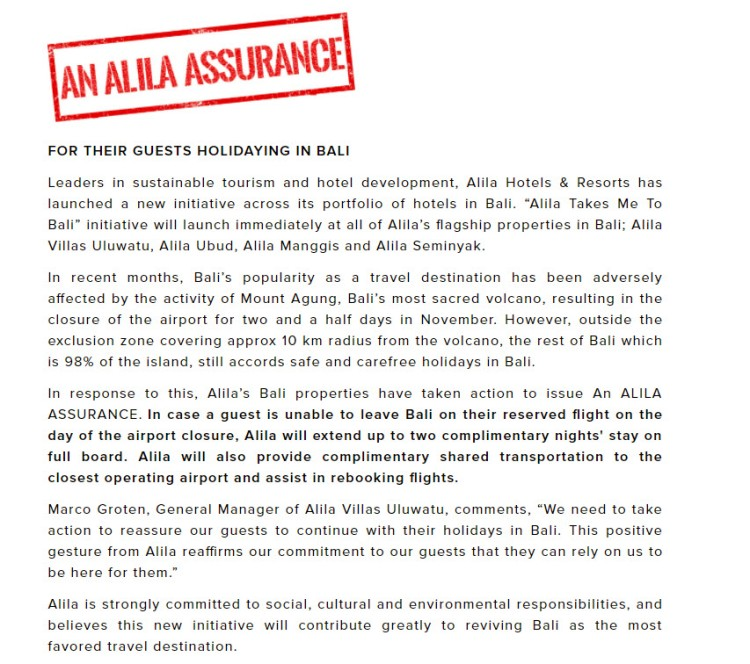 Alila Assurance for guests