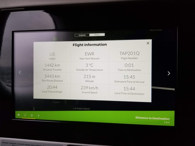 TAP Air Portugal's A330neo from LIS to EWR: the 16' in-flight entertainment screen in business class