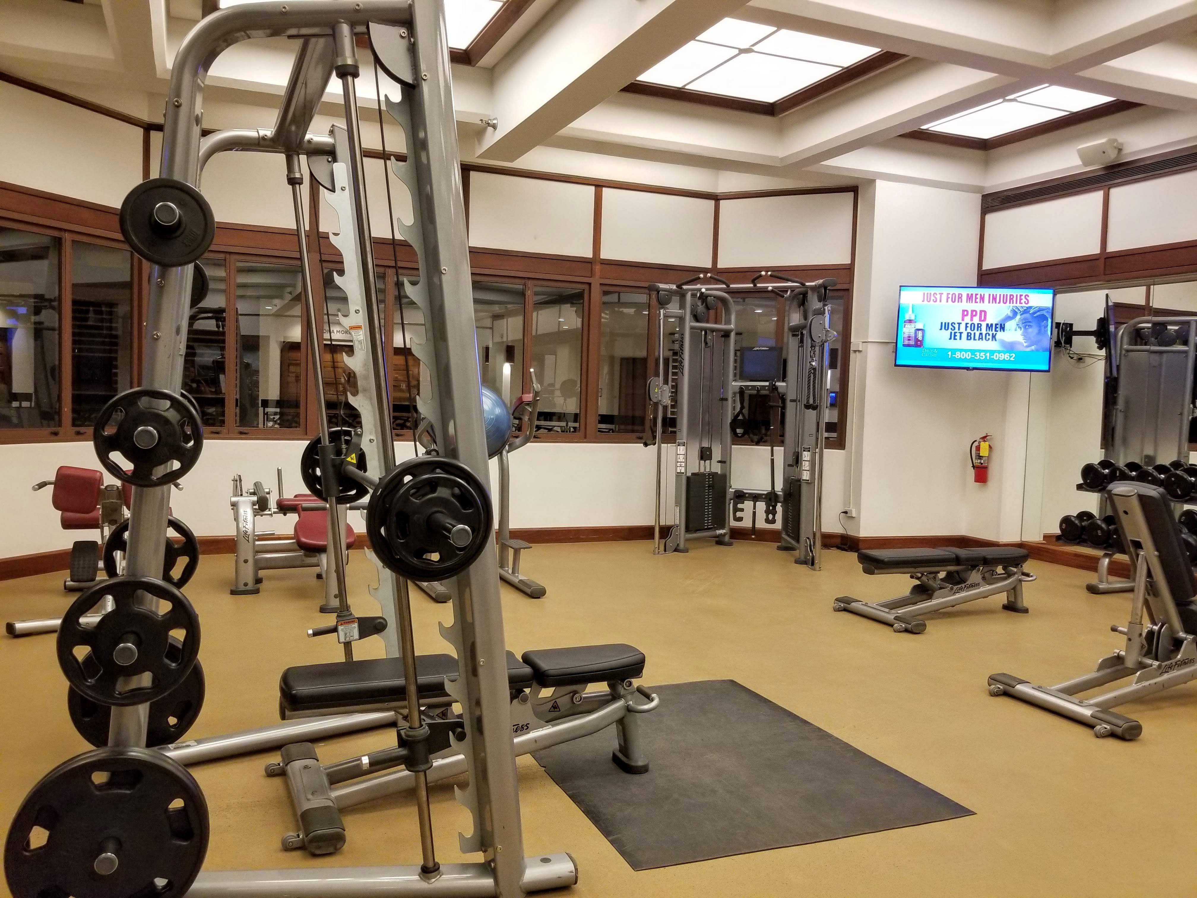 Weight equipment in the gym at the Waikiki Marriott Resort & Spa