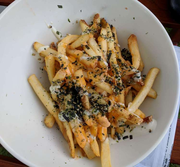 Hurricane fries for $6 during happy hour at the Lava Lava Beach Club