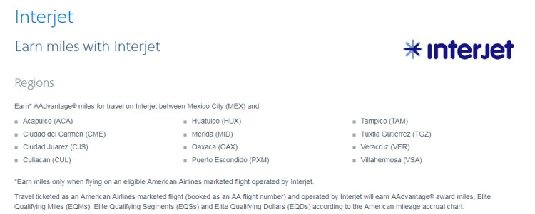 AAdvantage information for Interjet Flights