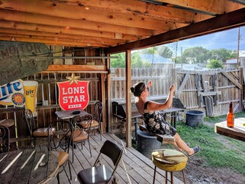 Max on the swing at the Lost Horse Saloon in Marfa