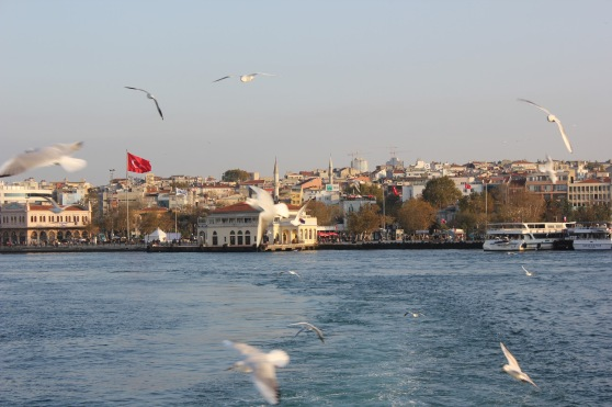 Taking the ferry between Istanbul and Kadikoy