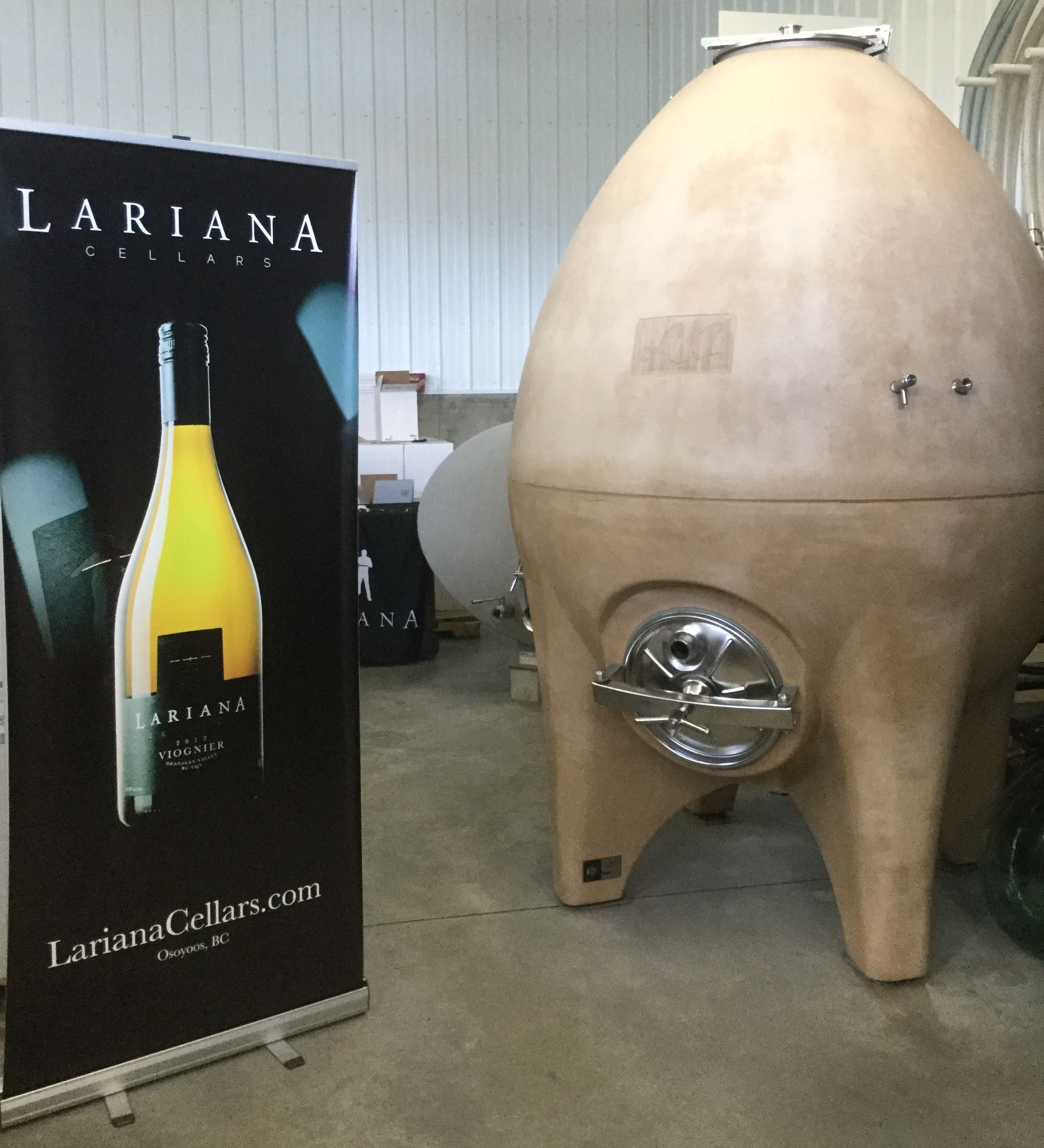 The fermentation egg at Lariana for the Viognier