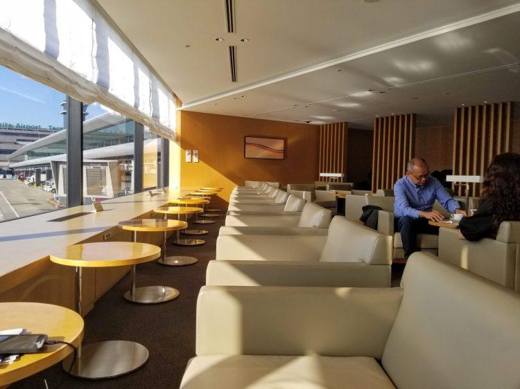 Seating at the JAL Sakura Lounge at Tokyo Narita