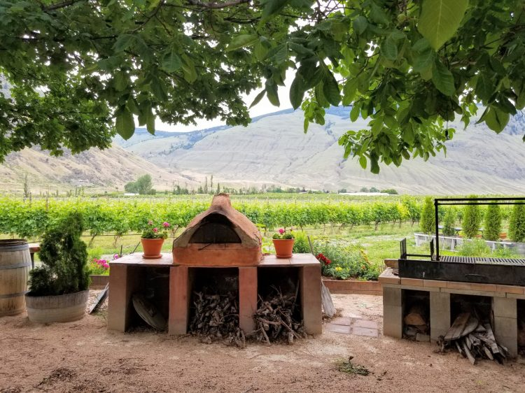 Outdoor area at Orofino with South American-style grill