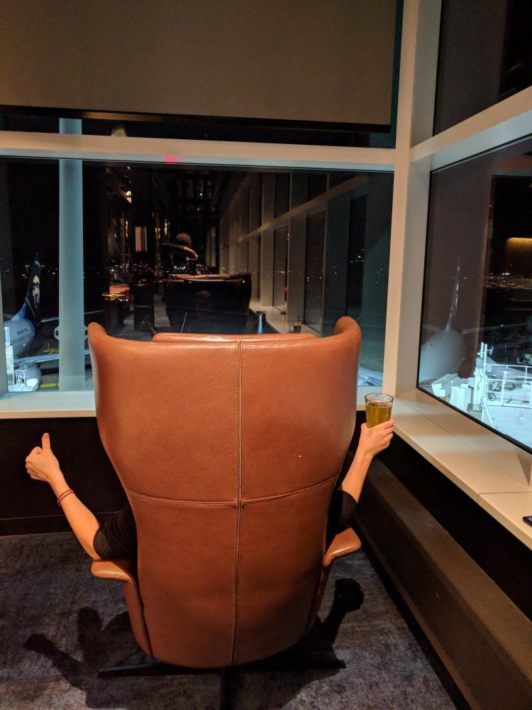 Alaska Lounge N-Gates: Max enjoying a Fremont Lounge Life IPA in her favorite seat