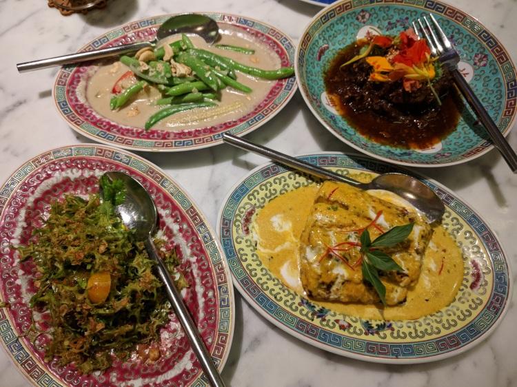 Kebaya Tamarind Beef, Grilled Snapper, Wing Bean Kerabu, and Sambal Goreng at Kebaya
