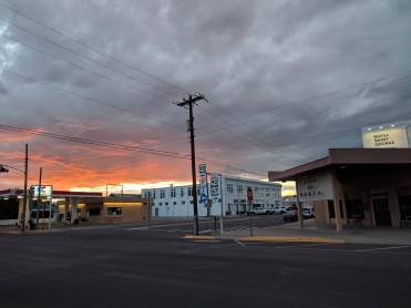 The town of Marfa at sunset