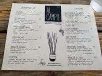 Menu at Al Campo in Marfa