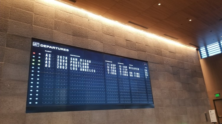The flight departure board at PAE - Snohomish County Airport/Paine Field