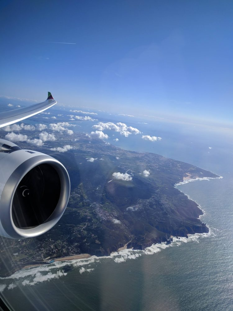 TAP Air Portugal's A330neo from LIS to EWR: view of the Portuguese coast line on departure
