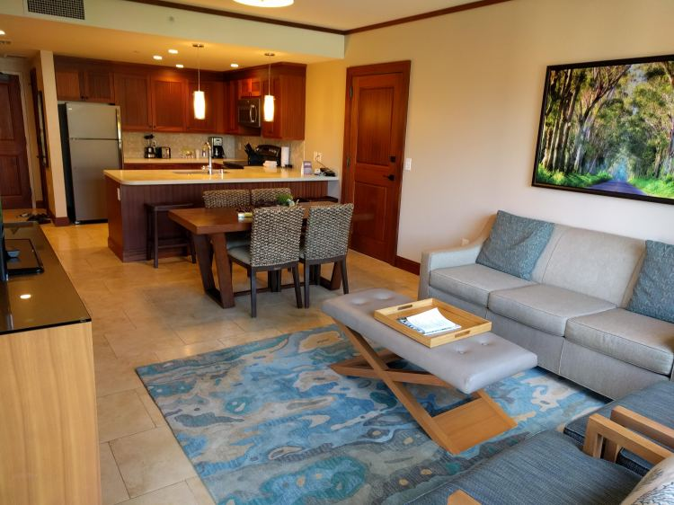 Kitchen/living/dining area in the 1 bedroom partial ocean view villa