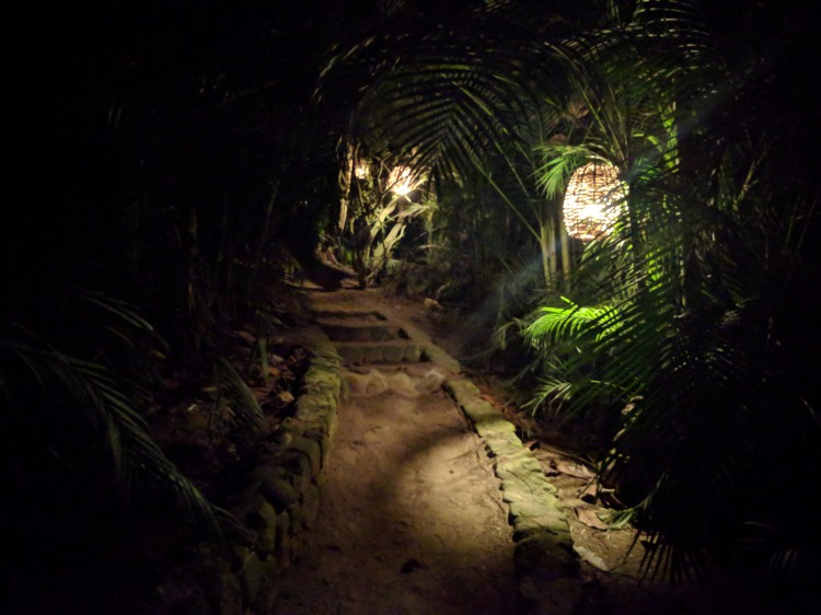 Path to Bungalow 1 at night